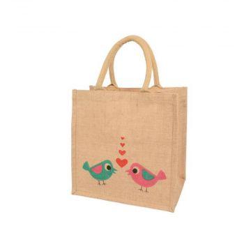 """Jute-Einkaufstasche """"Verliebte Vögel"""""""