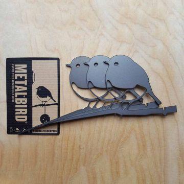 Metalbird Rotkehlchen aus Metall, 3er-Set